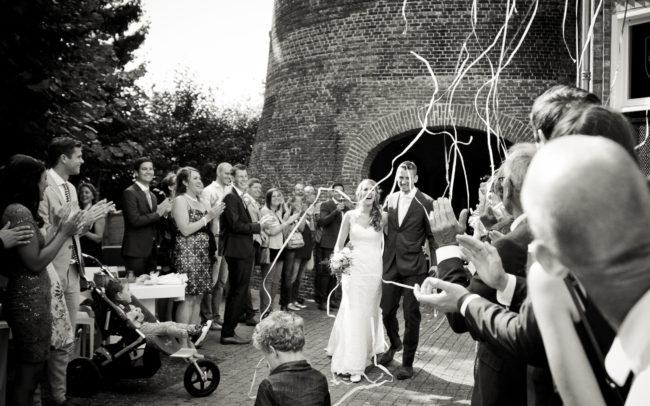 Presentatie bruidspaar na trouwceremonie