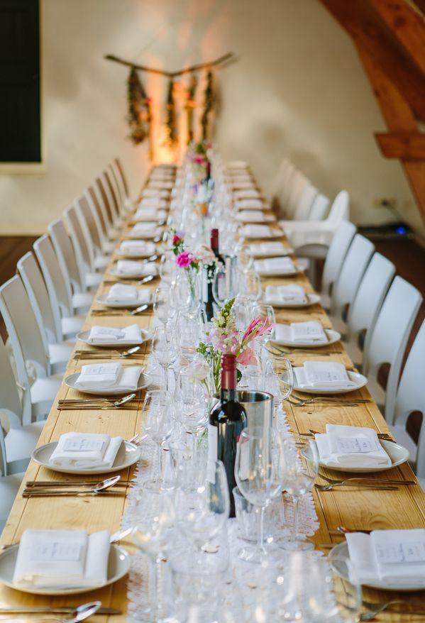 Dinertafel bruiloft hout met wit