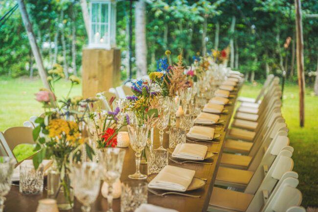 Tafeldecoratie diner bruiloft